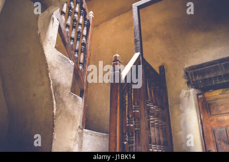 cairo, egypt, april 15, 2017: old stairs at bayt al-suhaymi - Stock Photo