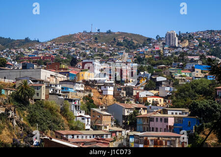 Colorful old houses in valparaiso city, Chile - Stock Photo