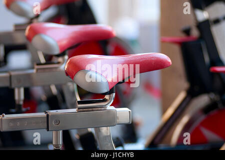 A Spinning Aerobic Machines in a Fitness Festival - Stockfoto