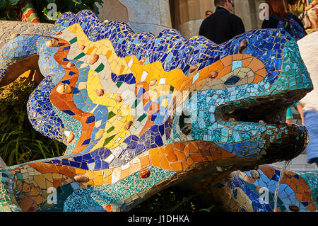 Dragon statue in Park Guell, Barcelona - Spain - Stock Photo