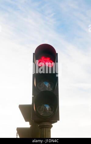 Cycling traffic light. Photographed in Madrid, Spain - Stock Photo