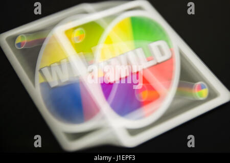 Blurred double image of an Uno wild card. - Stock Photo