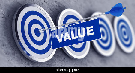 VALUE concept with a banner on an arrow penetrating the center bulls eye on a target. 3d Rendering. - Stock Photo