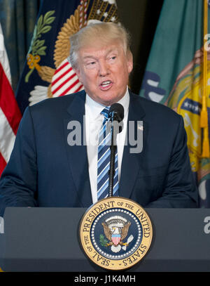 Washington DC, USA. 21st April, 2017. United States President Donald J. Trump makes remarks prior to signing Executive - Stock Photo