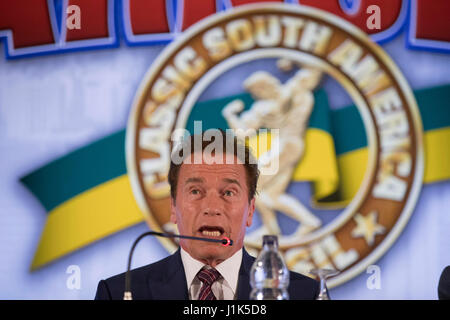 US actor and body builder Arnold Schwarzenegger smiles during a press conference to present the Brazilian edition - Stock Photo