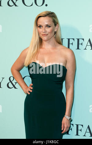 Reese Witherspoon attends the Tiffany & Co. 2017 Blue Book Gala at St. Ann's Warehouse on April 21, 2017 in Brooklyn, - Stock Photo