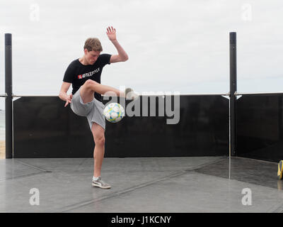 Newquay, Cornwall, UK, 22st April 2017. Football freestyling at Fistral Beach as one of the UK`s newest sports entertains - Stock Photo