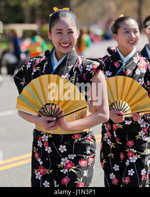 Young Japanese girls marching in the National Cherry Blossom Festival parade - Washington, DC USA - Stock Photo