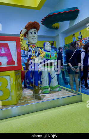 Disney characters made from Lego in Disney village shop in Disneyland Paris - Stock Photo