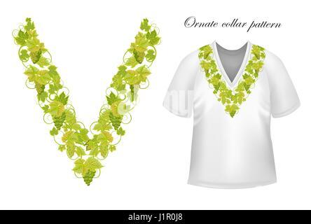 Neckline ornate floral paisley embroidery fashion design ...