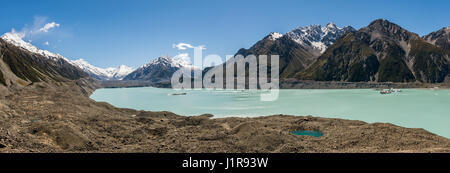 Tasman Glacier and turquoise glacier lake, Mount Tasman, Mount Cook National Park, Southern Alps, Canterbury Region, - Stock Photo