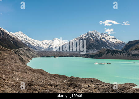 Tasman Glacier and turquoise glacier lake, Mount Tasman, Mount Cook National Park, Southern Alps, Canterbury Region, - Stock Photo