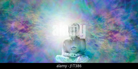 Pure Enlightenment Buddha Banner - Buddha in meditative lotus position with white light behind head on a multi-coloured - Stock Photo