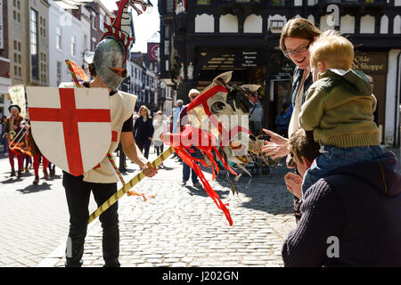 Chester, UK. 23rd April 2017. St George rides his horse through the streets of Chester as part of the St George's - Stock Photo
