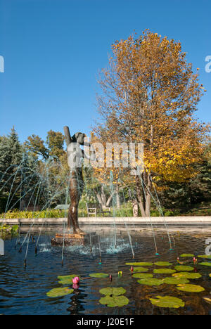 Lily Pond In Leo Mol Sculpture Garden Assiniboine Park