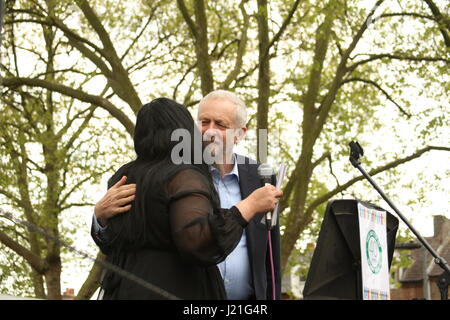London, UK. 23rd April, 2017. Labour Party leader, Jeremy Corbyn is greeted at an event 'Haringey Diversity Celebration' - Stock Photo