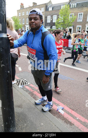London, UK. 23rd April, 2017. A runner at London Marathon Credit: Dinendra Haria/Alamy Live News - Stock Photo