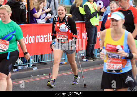London, UK. 23rd April, 2017. Participants take part in the Virgin London Marathon 2017. Pictured crossing Tower - Stock Photo