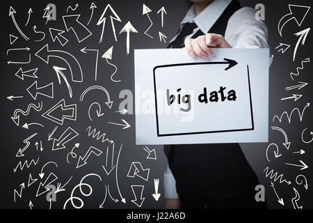 Technology, internet, business and marketing. Young business woman writing word:big data - Stock Photo