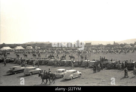 1950, historical, general view of the activity at the Bucks County show, England, UK with the cars of the day parked - Stock Photo