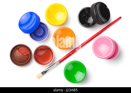 Gouache color paints with paint brush isolated on white background. Top view - Stock Photo