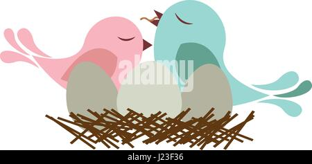 colorful silhouette of bird in nest with eggs and chick - Stock Photo