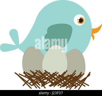 blue color silhouette of bird in nest with eggs - Stock Photo