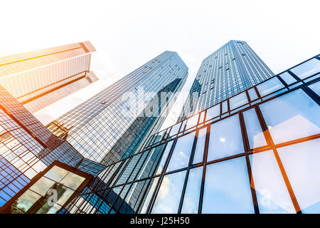 Low wide-angle view of modern skyscrapers in business district in beautiful golden evening light at sunset with - Stock Photo