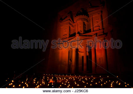 Petra by night - Treasury at night with candle light - Stock Photo