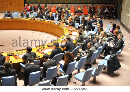 New York City, USA. 25th Apr, 2017. The United Nations Security Council meets at the New York City headquarters - Stock Photo