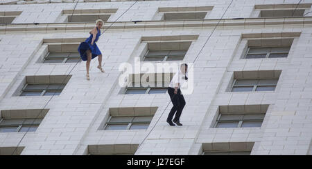 Los Angeles, USA. 25th Apr, 2017. Bandaloop performs at the 'La La Land Day' celebration in Los Angeles City Hall. - Stock Photo