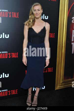 Los Angeles, CA, USA. 25th Apr, 2017. Yvonne Strahovski at arrivals for THE HANDMAID'S TALE Screening Premiere on - Stock Photo