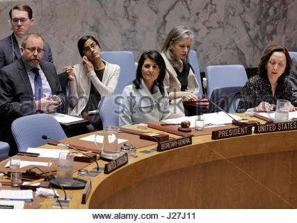 United Nations, New York, USA. 25th Apr, 2017. Nikki Haley, United States Permanent Representative to the UN and - Stock Photo