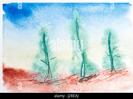 Abstract landscape with watercolor paint. Drawing on wet paper. In the style of a la prima. Coniferous forest. - Stock Photo