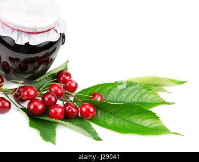 Cherry jam and cherries isolated on white background - Stock Photo