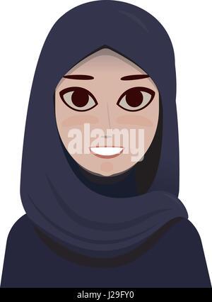 Cartoon Portrait of muslim beautiful woman in hijab - Stock Photo