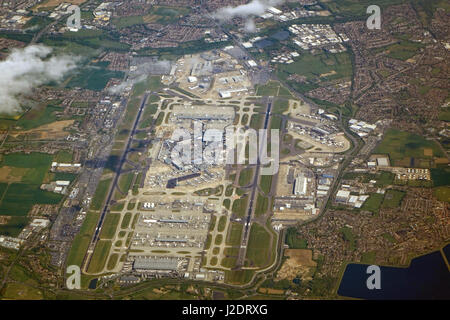 London Heathrow airport with 100 aircraft seen from above - Stock Photo
