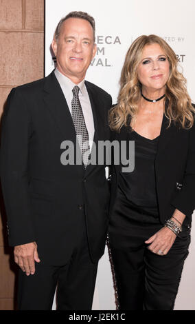 New York, United States. 26th Apr, 2017. Tom Hanks and Rita Wilson attend Tribeca Gala: The Circle Premiere during - Stock Photo