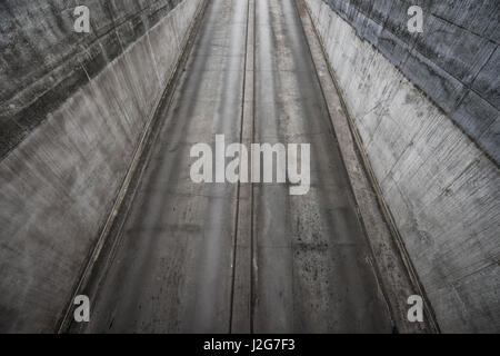 Aerial view of underground car garage entrance, concrete urban architecture geometry - Stock Photo