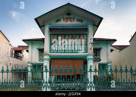 GEORGE TOWN, MALAYSIA - MARCH 22: Facade of the old historical shophouse in George Town on March 22, 2016 in George - Stock Photo