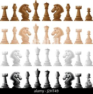 Four set of chess pieces illustration - Stock Photo
