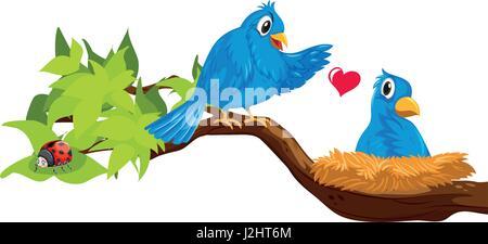 Two blue birds in nest illustration - Stock Photo
