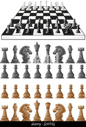 Chessboard and different chess pieces illustration - Stock Photo