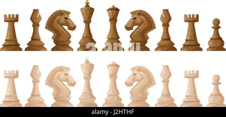 Two colors of chess pieces illustration - Stock Photo