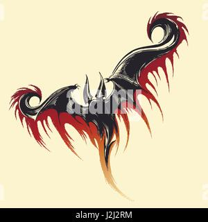 Hand drawn sketch of flying demon with splashes of blood. Vector illustration. - Stock Photo