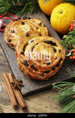 Kanelbulle - swedish cinnamon rolls. Festive dessert - Stock Photo