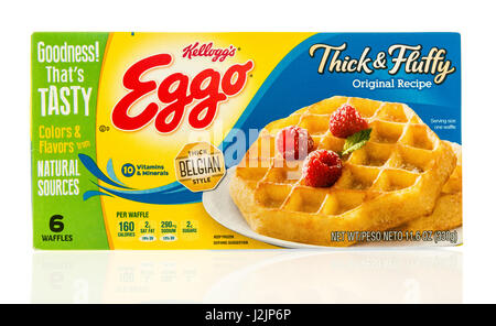 Box Of Kelloggs Eggo Frozen Waffles On White Background