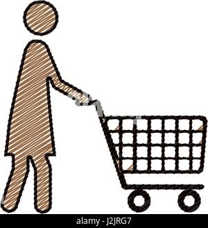 color pencil drawing silhouette of pictogram woman with shopping cart - Stock Photo