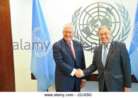 New York City, USA. 28th Apr, 2017. United Nations Secretary-General Antonio Guterres meets with Secretary of State - Stock Photo