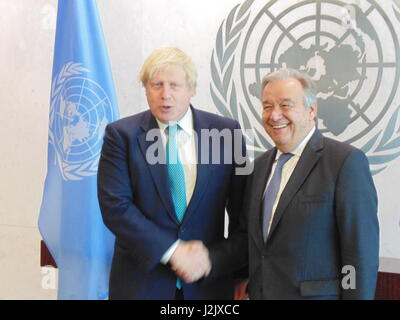 New York City, USA. 28th Apr, 2017. UK Foreign Secretary Boris Johnson meets UN Secretary General Antonio Guterres - Stock Photo